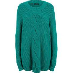 Sweter w warkocze, długi rękaw bonprix dymny szmaragdowy. Niebieskie swetry klasyczne damskie bonprix. Za 89,99 zł.