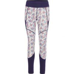 Legginsy sportowe damskie: Sportowe legginsy w kolorze fioletowym ze wzorem