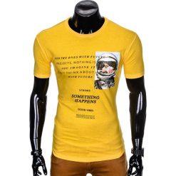 T-SHIRT MĘSKI Z NADRUKIEM S929 - ŻÓŁTY. Żółte t-shirty męskie z nadrukiem Ombre Clothing, m. Za 29,00 zł.