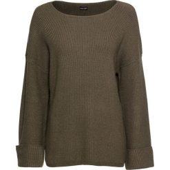 Sweter, rozszerzane rękawy bonprix ciemnooliwkowy. Zielone swetry klasyczne damskie bonprix. Za 49,99 zł.