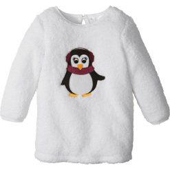 Sukienki dziewczęce: Ciepła sukienka z pluszu bonprix biel wełny Pingwin