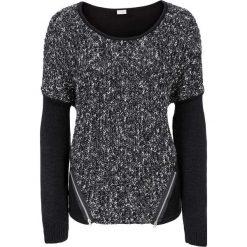Sweter bonprix czarny melanż. Czarne swetry klasyczne damskie bonprix, na zimę, z dzianiny, z okrągłym kołnierzem. Za 129,99 zł.