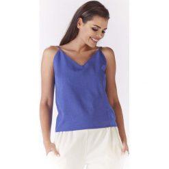 Niebieska Bluzka na Cienkich Ramiączkach z Wiązaniem na Plecach. Niebieskie bluzki wizytowe Molly.pl, l, biznesowe, z dekoltem na plecach, na ramiączkach. Za 89,90 zł.