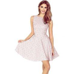Sukienki: Veronica Sukienka KOŁO – dekolt łódka – ŻAKARD KÓŁECZKA – FIOLET