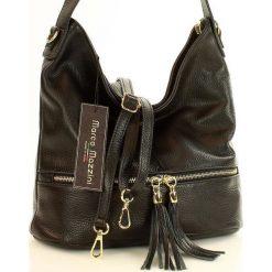GIULIA Włoska torebka skórzana MAZZINI - czarna. Czarne torebki klasyczne damskie MAZZINI, w paski, ze skóry, zdobione. Za 249,00 zł.