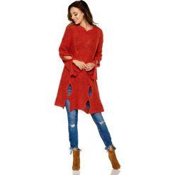Dłuższy Bordowy Sweter z Owalnymi Wycięciami. Czerwone swetry oversize damskie Molly.pl, uniwersalny, z jeansu. Za 109,90 zł.