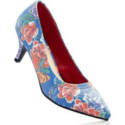 Buty ślubne damskie: Czółenka bonprix niebieski w kwiaty