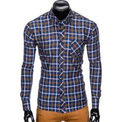 Koszule męskie na spinki: KOSZULA MĘSKA W KRATĘ Z DŁUGIM RĘKAWEM K416 – GRANATOWA/BRĄZOWA