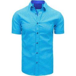 Koszule męskie na spinki: Turkusowa koszula męska we wzory (kx0823)