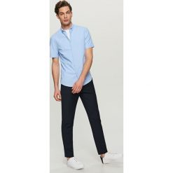 Koszule męskie na spinki: Gładka koszula slim fit – Niebieski