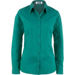 Bluzka z długim rękawem bonprix dymny szmaragdowy. Niebieskie bluzki longsleeves bonprix. Za 54,99 zł.