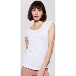 T-shirty damskie: Gładki t-shirt – Biały