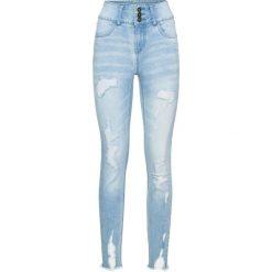 """Dżinsy z wysoką talią """"destroyed"""" bonprix niebieski """"bleached"""". Niebieskie jeansy damskie skinny marki House, z jeansu. Za 109,99 zł."""