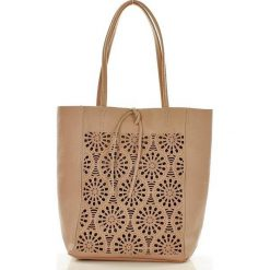 Shopper bag damskie: Modny shopper na ramię skórzany AMELIA nude ażur