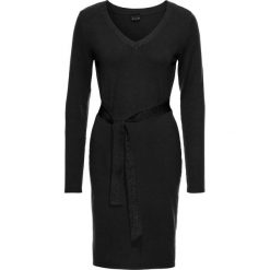 Sukienki dzianinowe: Sukienka dzianinowa z przewiązaniem bonprix czarny