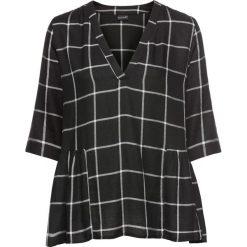 Bluzka tunikowa w kratę bonprix czarno-biel wełny w kratę. Białe bluzki asymetryczne bonprix, z wełny, z dekoltem w serek. Za 119,99 zł.