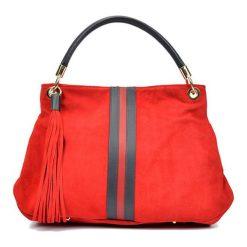 Torebki klasyczne damskie: Skórzana torebka w kolorze czerwonym – (S)30 x (W)44 x (G)15 cm