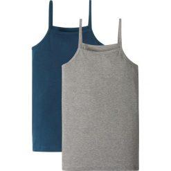 Top (2 szt.) bonprix ciemnoniebieski + jasnoszary melanż. Niebieskie bluzki dziewczęce bonprix, melanż, z bawełny. Za 25,98 zł.