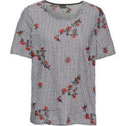 Bluzki damskie: Bluzka z haftem bonprix czarno-biały w kratę