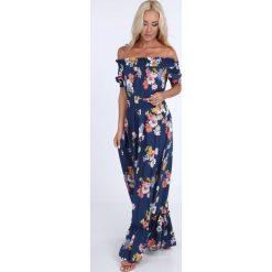 Sukienki: Sukienka maxi w kwiaty z paskiem granatowa ALZ3242