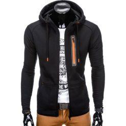 BLUZA MĘSKA ROZPINANA Z KAPTUREM B747 - CZARNA. Czarne bluzy męskie rozpinane marki Ombre Clothing, m, z bawełny, z kapturem. Za 69,00 zł.