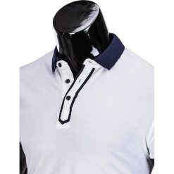 KOSZULKA MĘSKA POLO BEZ NADRUKU S663 - BIAŁA. Zielone koszulki polo marki Ombre Clothing, na zimę, m, z bawełny, z kapturem. Za 39,00 zł.
