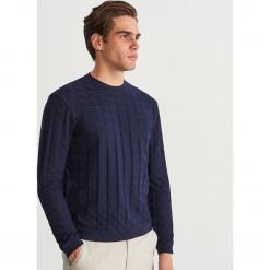 Bluza ze strukturalnej dzianiny - Granatowy. Niebieskie bluzy męskie Reserved, l, z dzianiny. Za 99,99 zł.