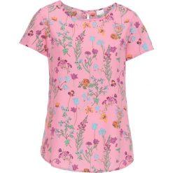 Bluzki damskie: Bluzka, krótki rękaw bonprix matowy różowy w kwiaty