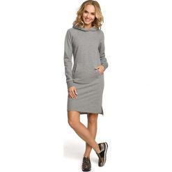 JANINA Luźna sukienka kangurka - szara. Szare długie sukienki Moe, s, sportowe, z kapturem, z długim rękawem, dopasowane. Za 169,90 zł.