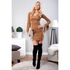 Sukienka z zamszu karmelowa TA2236. Szare sukienki Fasardi, s. Za 89,00 zł.