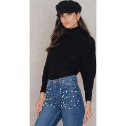Swetry oversize damskie: NA-KD Sweter z dzianiny z wywijanym golfem - Black
