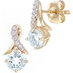 Złote kolczyki-wkrętki z diamentami i topazami. Niebieskie kolczyki damskie REVONI, z diamentem, złote. W wyprzedaży za 474,95 zł.