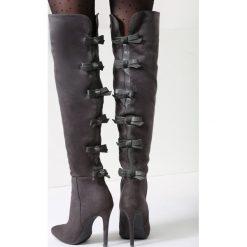 Ciemnoszare Kozaki Fashionable Sue. Szare buty zimowe damskie vices, na wysokim obcasie. Za 149,99 zł.