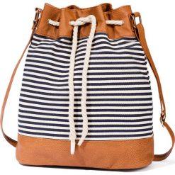 Shopper bag damskie: Worek shopper w paski bonprix niebiesko-biało-koniakowy w paski