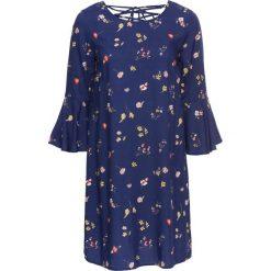 Sukienka z rękawami z wolantem bonprix kobaltowy w kwiaty. Niebieskie sukienki z falbanami bonprix, w kwiaty, ze sznurowanym dekoltem. Za 49,99 zł.