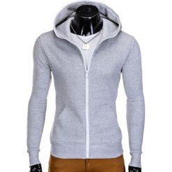 BLUZA MĘSKA ROZPINANA Z KAPTUREM B603 - SZARA. Szare bluzy męskie rozpinane marki Ombre Clothing, m, z bawełny, z kapturem. Za 49,00 zł.