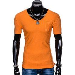 T-SHIRT MĘSKI Z NADRUKIEM S956 - POMARAŃCZOWY. Brązowe t-shirty męskie z nadrukiem marki Ombre Clothing, m. Za 29,00 zł.