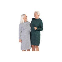 Sukienka damska obcisła gładka. Szare sukienki dzianinowe TXM, na zimę, ze stójką, proste. Za 39,99 zł.