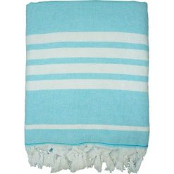 """Chusta hammam """"Ohana"""" w kolorze turkusowo-białym - 180 x 140 cm. Niebieskie chusty damskie Le Comptoir de la Plage, z bawełny. W wyprzedaży za 86,95 zł."""