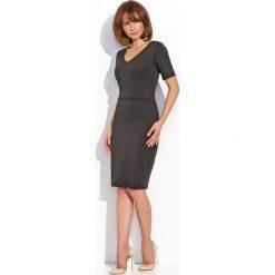 Sukienki balowe: Czarna Elegancka Klasyczna Sukienka z Dekoltem w Szpic