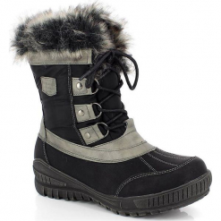 """Kozaki """"Laure"""" w kolorze czarnym. Szare buty zimowe damskie marki Marco Tozzi. W wyprzedaży za 295,95 zł."""