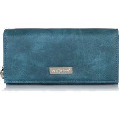 Niebieski Elegancki duży portfel damski Jennifer Jones na prezent. Niebieskie portfele damskie Jennifer Jones, ze skóry. Za 49,90 zł.