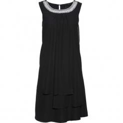 Sukienka z aplikacją bonprix czarny. Czarne sukienki balowe bonprix, z aplikacjami, z okrągłym kołnierzem. Za 239,99 zł.
