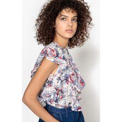 Bluzki asymetryczne: Haftowana bluzka LENI z nadrukiem, z czystej bawełny