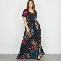 Sukienki: Długa sukienka z dzianiny z nadrukiem w kwiaty