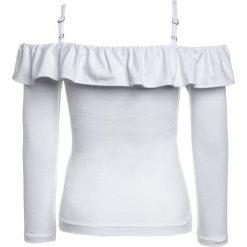 Polo Ralph Lauren RUFFLE  Bluzka z długim rękawem white. Białe bluzki dziewczęce z długim rękawem Polo Ralph Lauren, z elastanu. Za 229,00 zł.