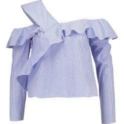 Bluzki asymetryczne: Miss Selfridge Petite STRIPE RUFFLE DETAIL  Bluzka blue stripe