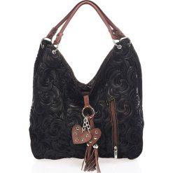 Torebki klasyczne damskie: Skórzana torebka w kolorze czarnym – 40 x 30 x 18 cm