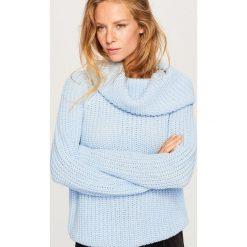Sweter z obszernym golfem - Niebieski. Niebieskie golfy damskie marki Reserved, l. Za 69,99 zł.