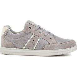"""Sneakersy """"Anthor"""" w kolorze szarym. Niebieskie trampki chłopięce marki geox kids, z gumy. W wyprzedaży za 142,95 zł."""